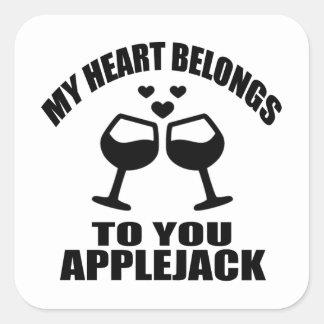 MY HEART BELONGS TO YOU APPLEJACK SQUARE STICKER