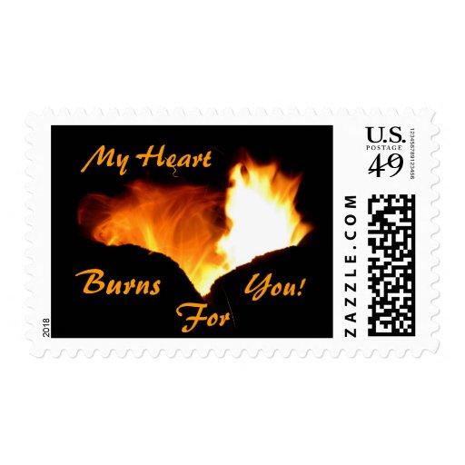 My Heart Burns 4 U! Postage Stamp