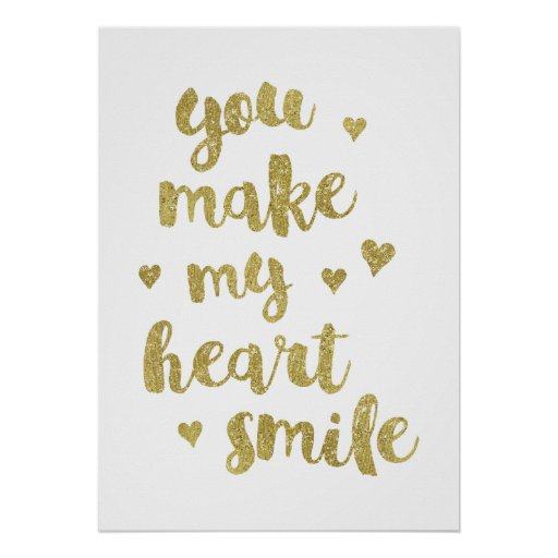 My heart faux gold foil calligraphy quote poster zazzle