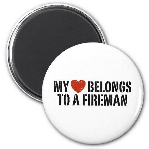My Heart Fireman 2 Inch Round Magnet