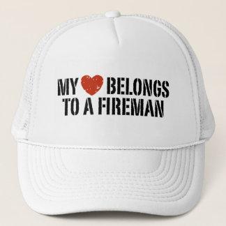 My Heart Fireman Trucker Hat