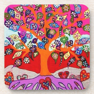 My Heart Flowers For You Tree Of Life Drink Coaster