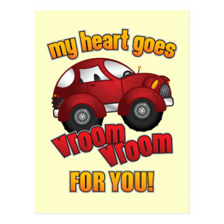 My Heart Goes Vroom Vroom For You! Post Cards