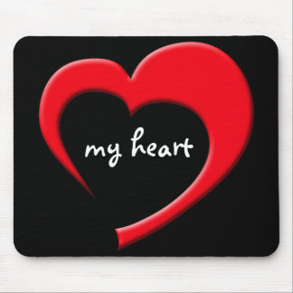 My Heart II Mousepad (red on black)