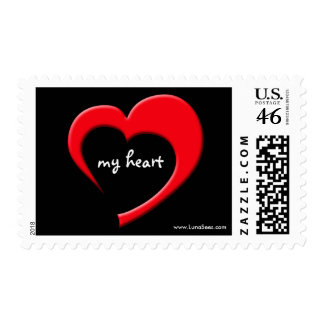 My Heart II Postage (red on black)