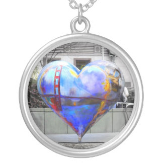 My Heart in San Francisco Round Pendant Necklace