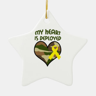 MY HEART IS DEPLOYED Double-Sided STAR CERAMIC CHRISTMAS ORNAMENT