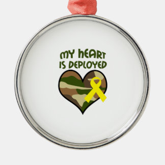 MY HEART IS DEPLOYED ROUND METAL CHRISTMAS ORNAMENT