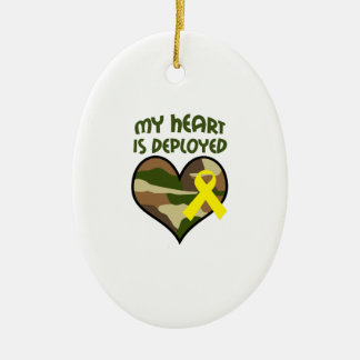 MY HEART IS DEPLOYED Double-Sided OVAL CERAMIC CHRISTMAS ORNAMENT
