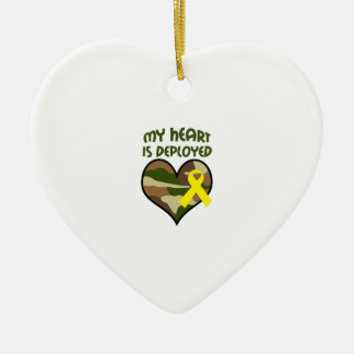 MY HEART IS DEPLOYED Double-Sided HEART CERAMIC CHRISTMAS ORNAMENT