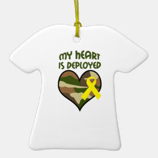 MY HEART IS DEPLOYED Double-Sided T-Shirt CERAMIC CHRISTMAS ORNAMENT