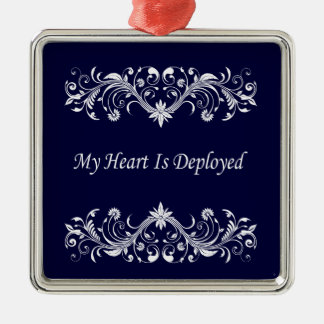 My Heart is Deployed Square Metal Christmas Ornament
