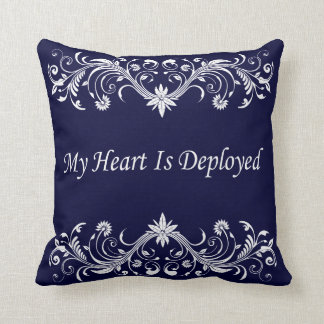 My Heart is Deployed Throw Pillow