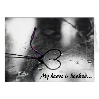my heart is hooked greeting card