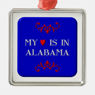 My heart is in Alabama Square Metal Christmas Ornament