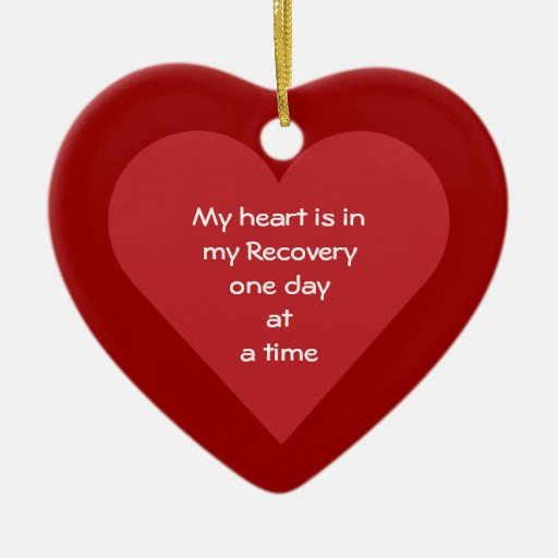 My Heart Is In My Recovery ODAAT Sobriety Date Double-Sided Heart Ceramic Christmas Ornament