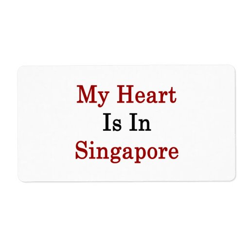 My Heart Is In Singapore Custom Shipping Labels