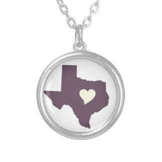 My heart is in Texas Round Pendant Necklace