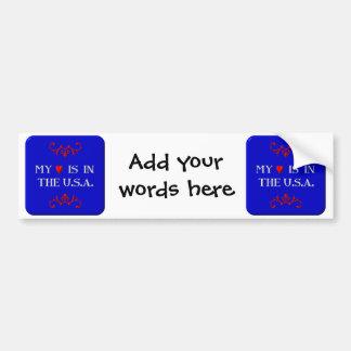 My heart is in the U.S.A. Car Bumper Sticker