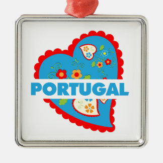 My heart is Portuguese Metal Ornament