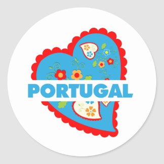 My heart is Portuguese Classic Round Sticker