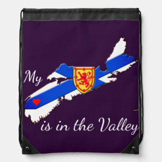 My Heart is  the valley N.S. drawstring Bag purple