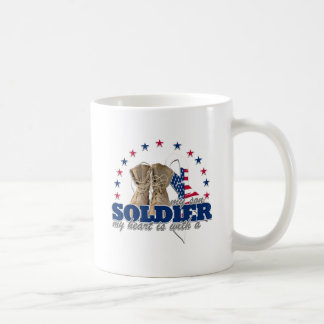 my heart is with a soldier my son classic white coffee mug