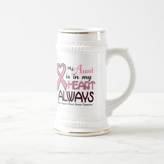 My Heart Is With My Aunt BREAST CANCER Coffee Mugs