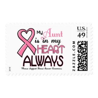 My Heart Is With My Aunt BREAST CANCER Postage Stamps
