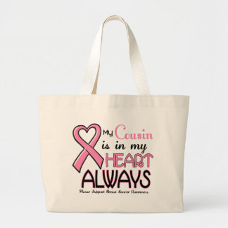 My Heart IS With My Cousin BREAST CANCER Tote Bags