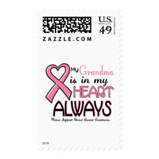 My Heart Is With My Grandma BREAST CANCER Postage Stamps