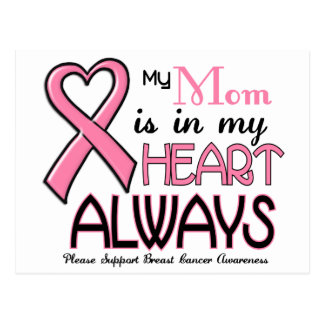 My Heart Is With My Mom BREAST CANCER Postcard