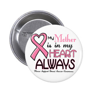 My Heart Is With My Mother BREAST CANCER Pinback Button