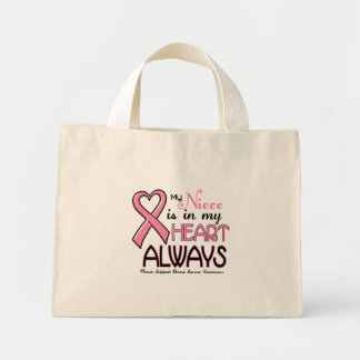 My Heart Is With My Niece BREAST CANCER Mini Tote Bag