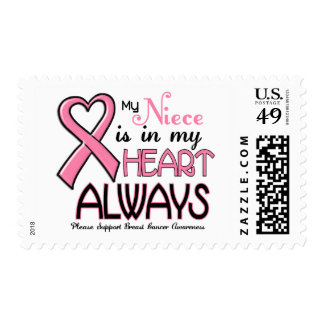My Heart Is With My Niece BREAST CANCER Postage Stamps