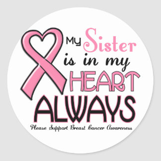 My Heart Is With My Sister BREAST CANCER Round Stickers