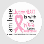 My Heart Is With My Wife Breast Cancer Sticker