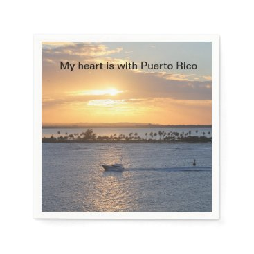 "Beach Themed ""My heart is with Puerto Rico"" cocktail napkins"