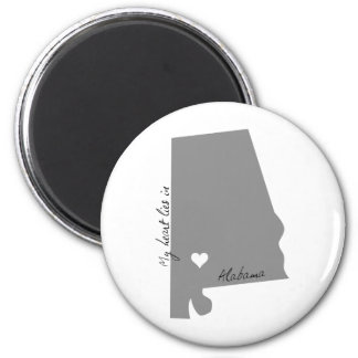 My Heart Lies in Alabama 2 Inch Round Magnet