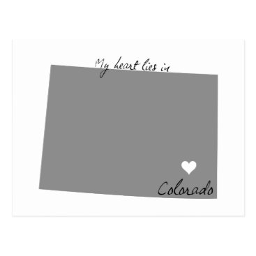 USA Themed My Heart Lies in Colorado Postcard