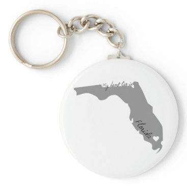 USA Themed My Heart Lies in Florida Keychain
