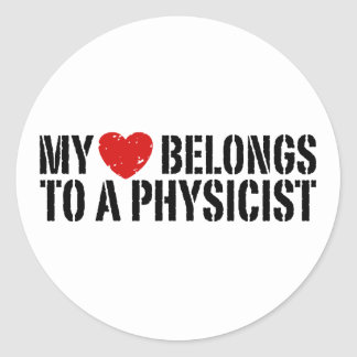 My Heart Physicist Classic Round Sticker