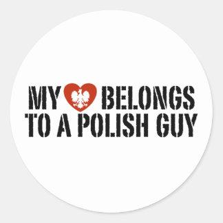 My Heart Polish Guy Classic Round Sticker