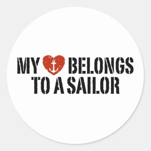 My Heart Sailor Classic Round Sticker