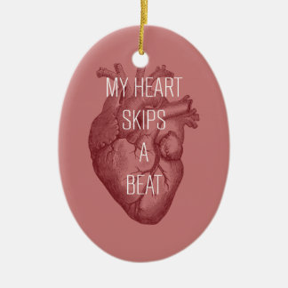 My Heart Skips A Beat Double-Sided Oval Ceramic Christmas Ornament