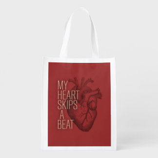 My Heart Skips A Beat Grocery Bags