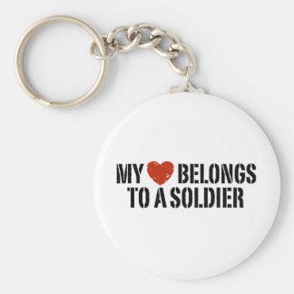 My Heart Soldier Basic Round Button Keychain