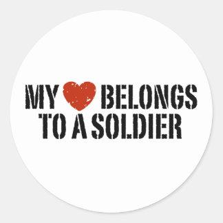 My Heart Soldier Classic Round Sticker