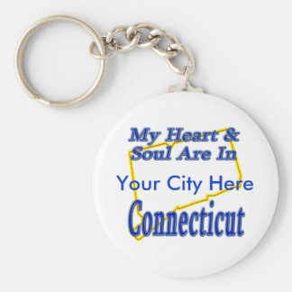 My Heart & Soul Are In Connecticut Keychain