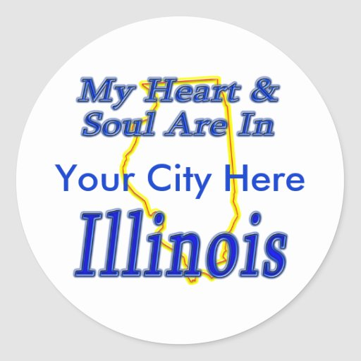 My Heart & Soul Are In Illinois Classic Round Sticker